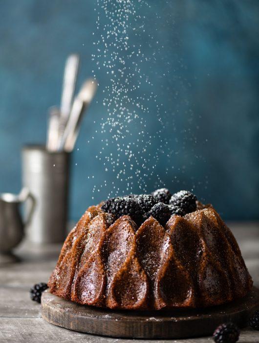 Blackberry Wine Cake for Christmas with fresh blackberries.