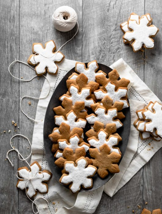 Iced Soft Maple Cookies shaped like snowflakes