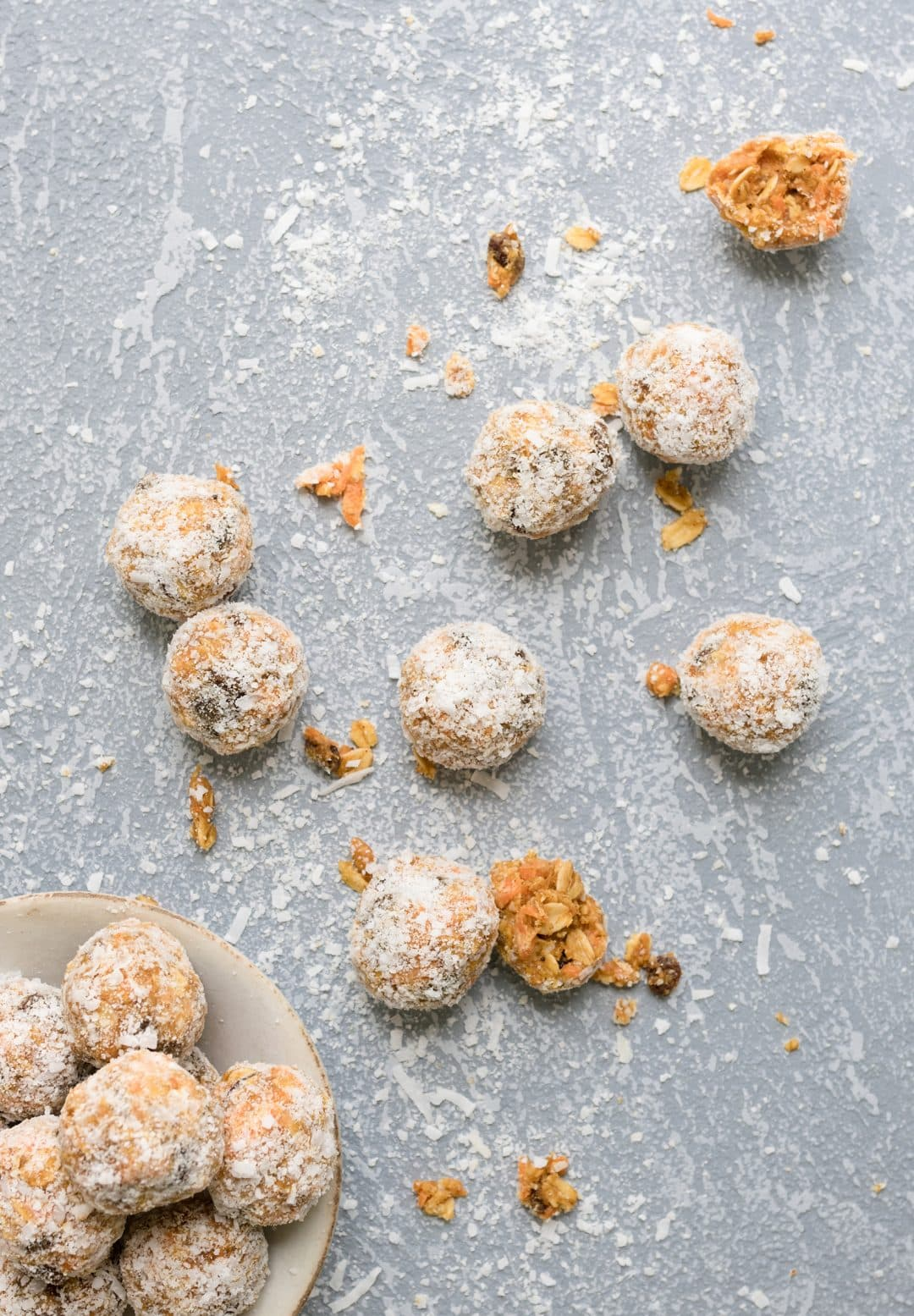 Carrot Cake bliss balls in a bowl