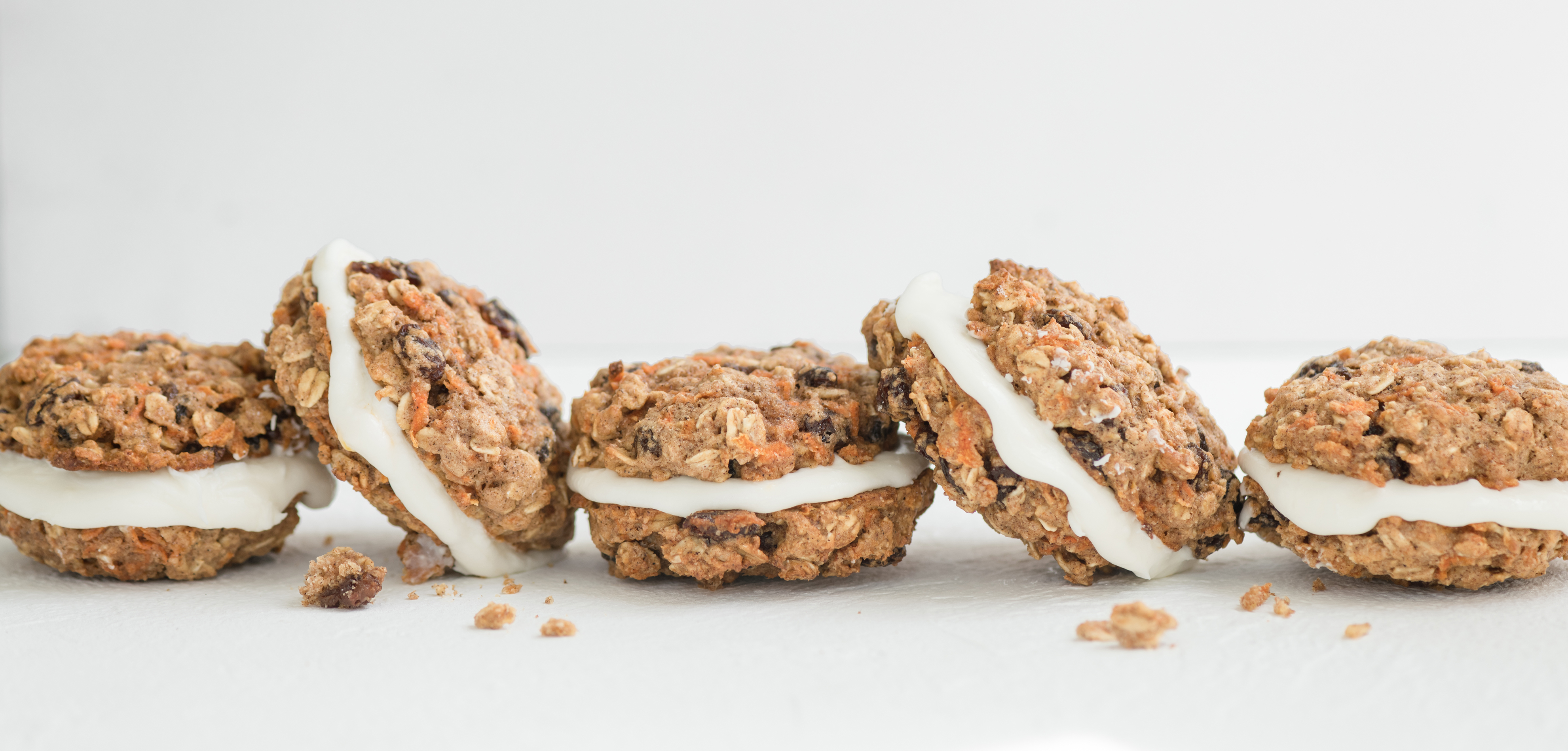 Carrot Oatmeal Cream Pies in a row