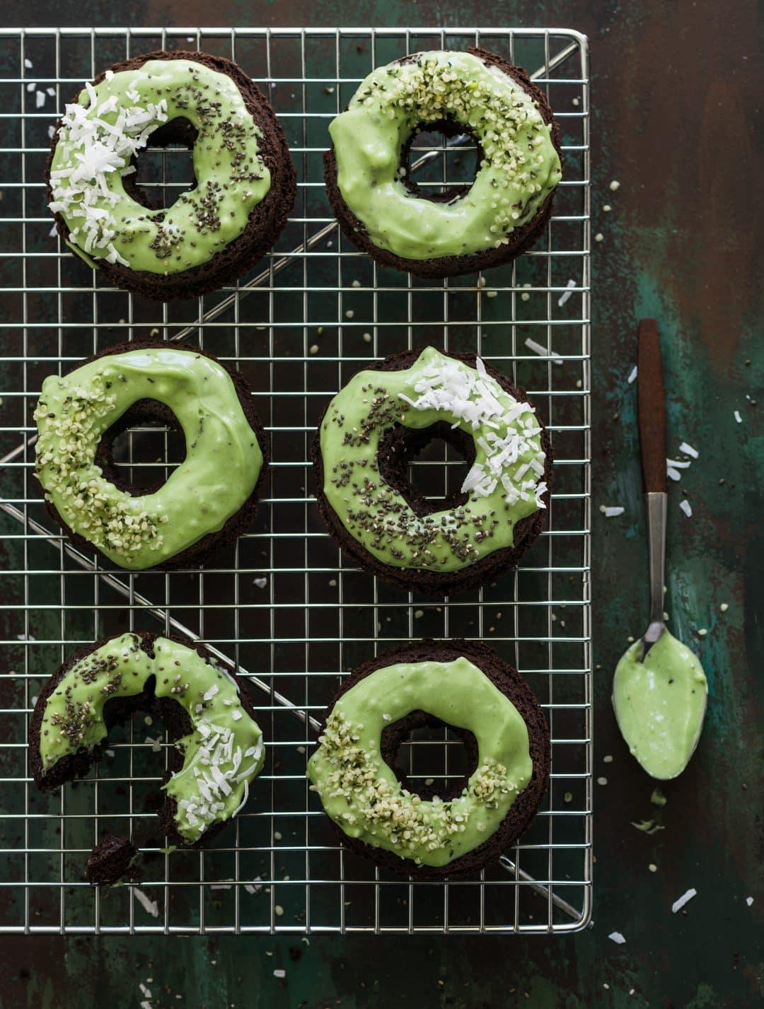 Cacao Doughnuts with Matcha Icing (gluten free/vegan)