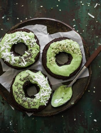 Gluten Free Chocolate Donuts with matcha icing