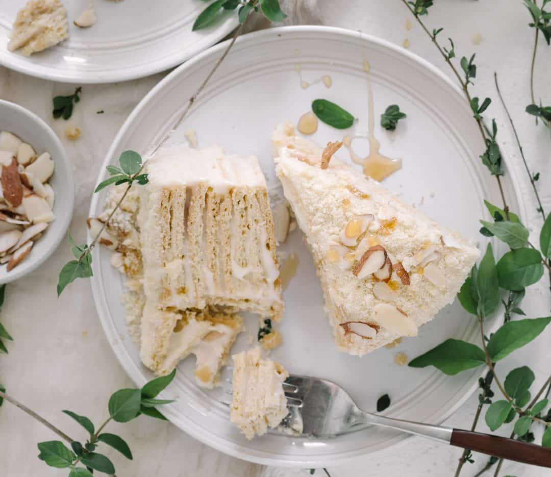 russian honey cake slice with almonds