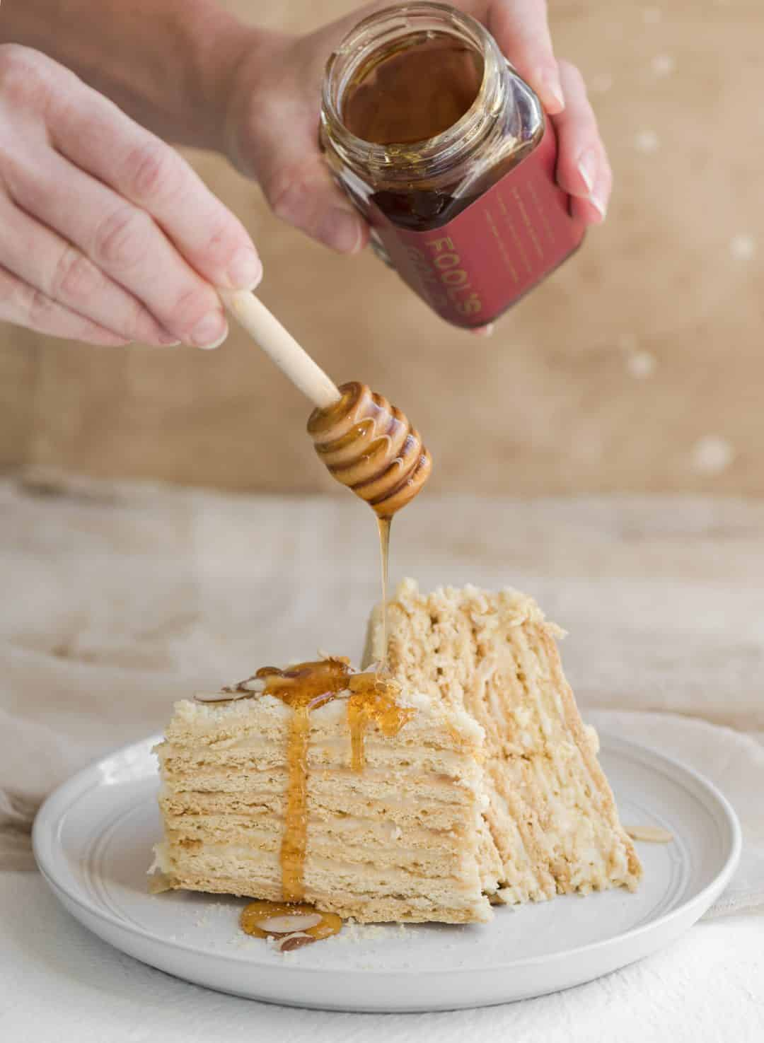russian honey cake with honey drizzle