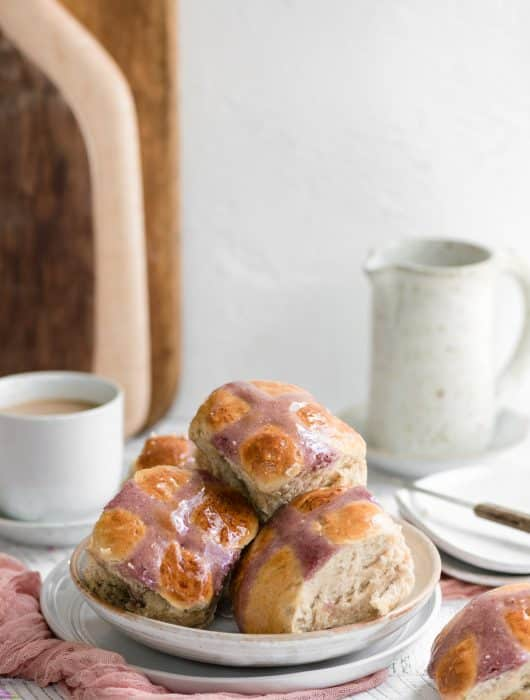 Hot Cross Buns with Raspberry Piping
