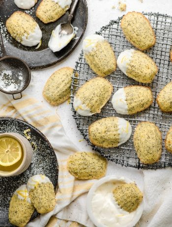 Lemon Poppyseed Madeleines with Lemon Cream Cheese Frosting