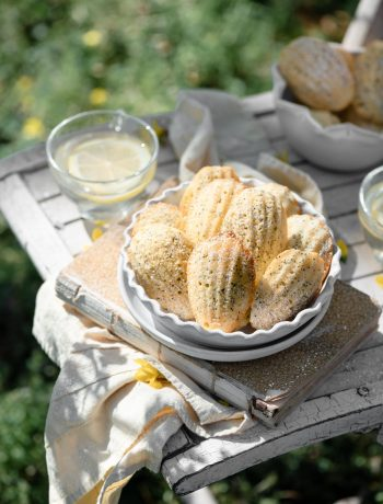 Lemon Poppyseed French Madeleines Recipe served with lemonade.