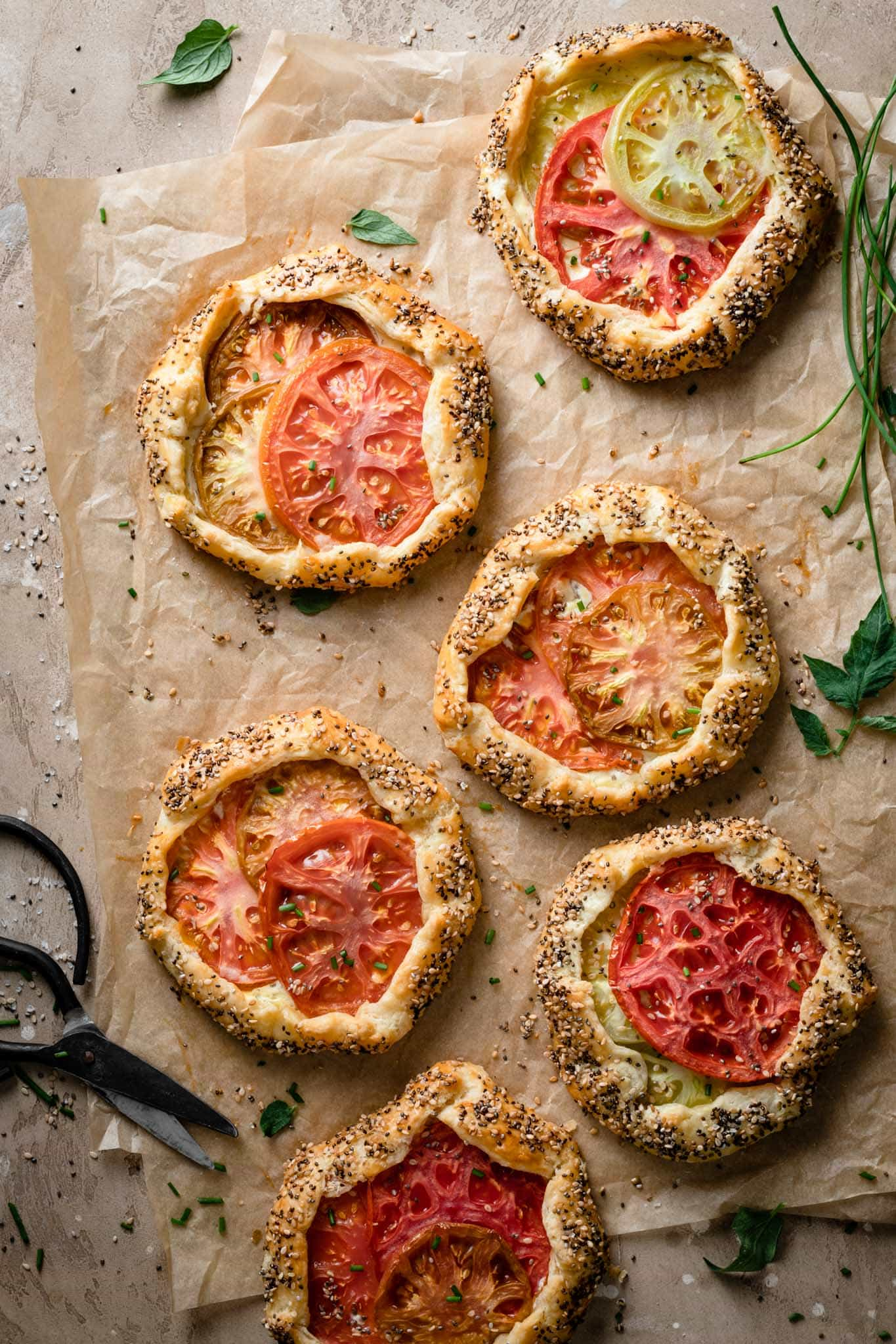 Savory hand pies made with tomatoes and goat cheese.