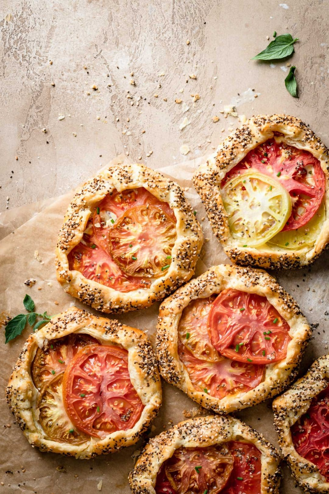 Savory Pies made with tomato and goat cheese.