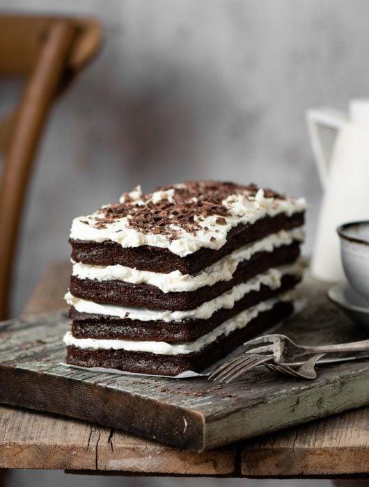 Mocha Cake with layers of vanilla buttercream.