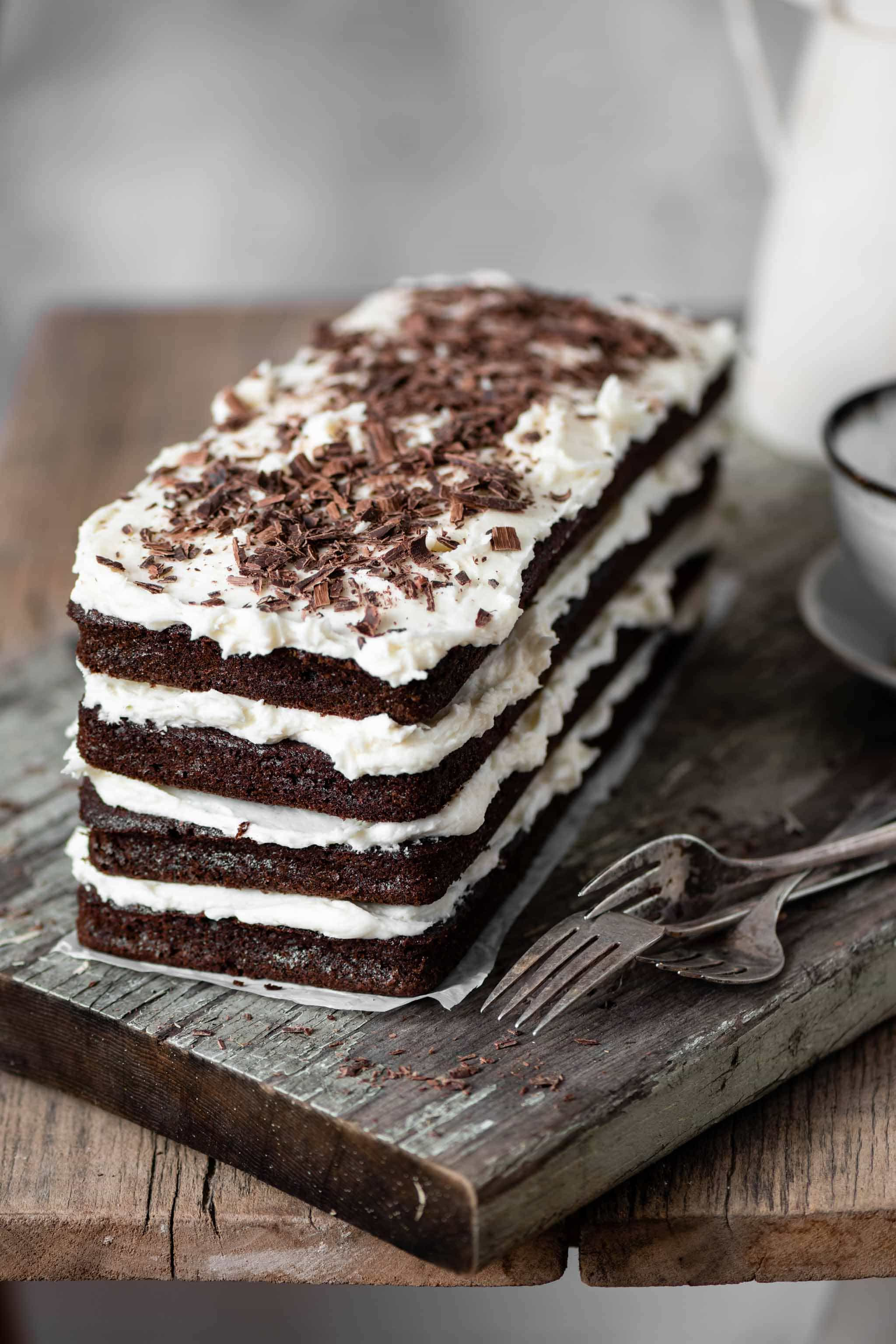 Chocolate Layer Cake made with coffee and vanilla.