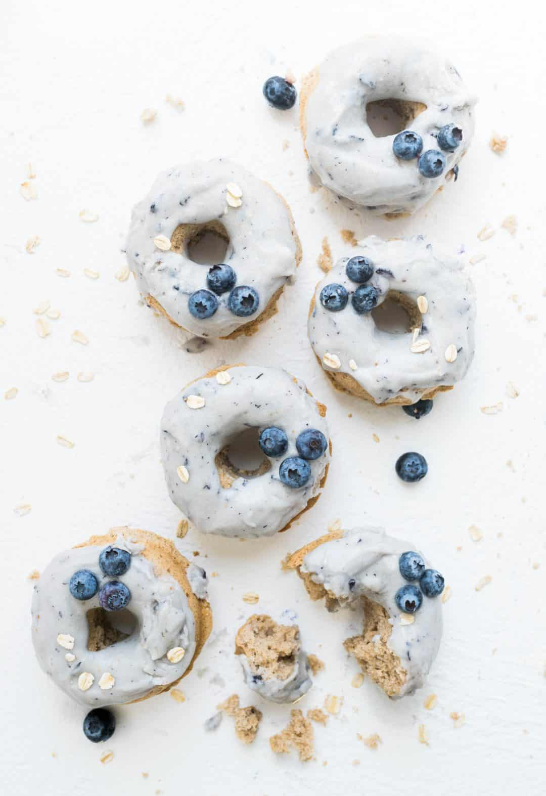 blueberry oatmeal doughnuts in a row