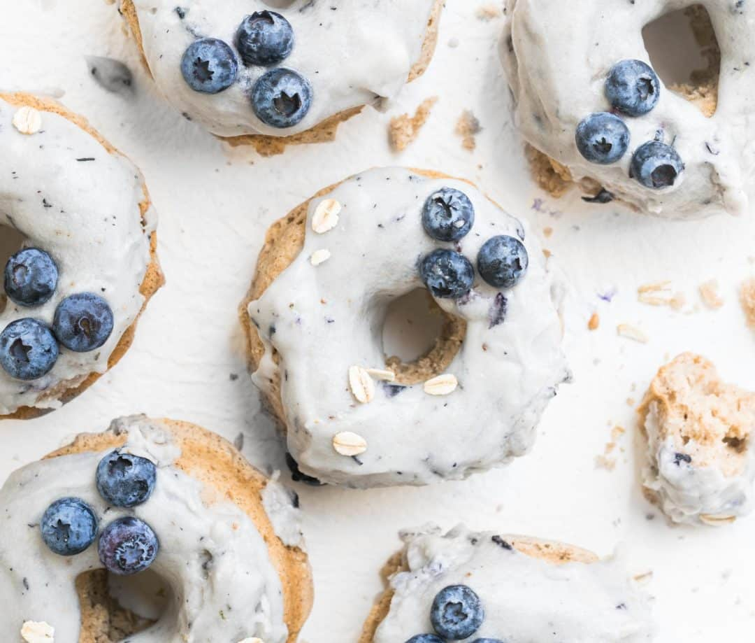 blueberry oatmeal doughnuts close up