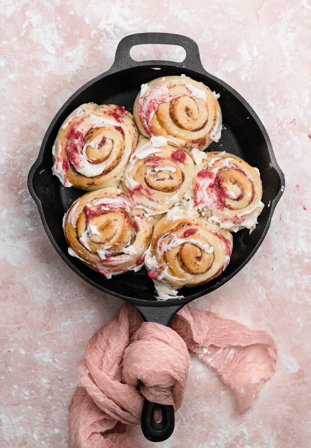 rhubarb rolls in skillet