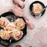 strawberry rhubarb rolls in skillet