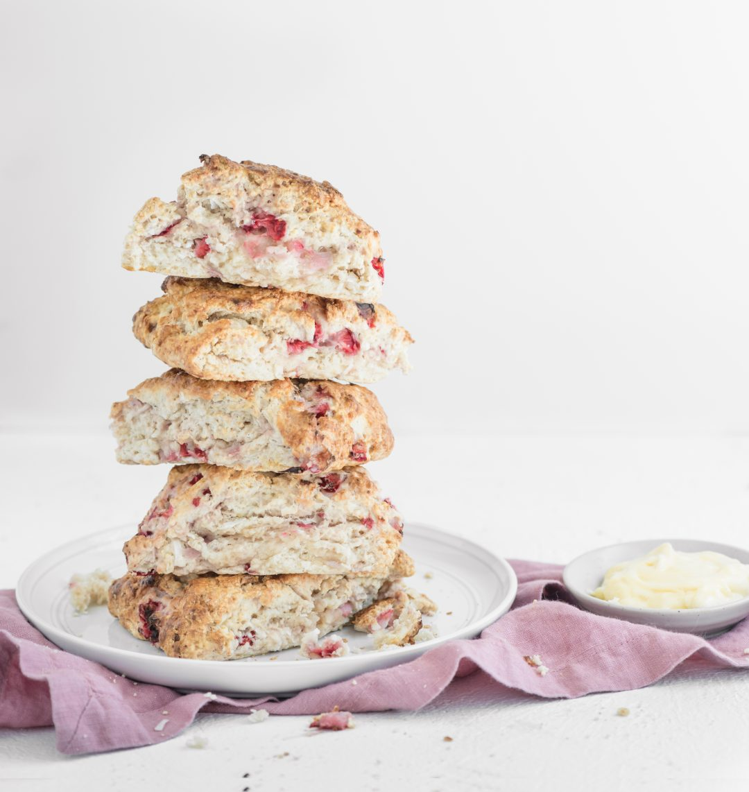 strawberry and coconut scone stack