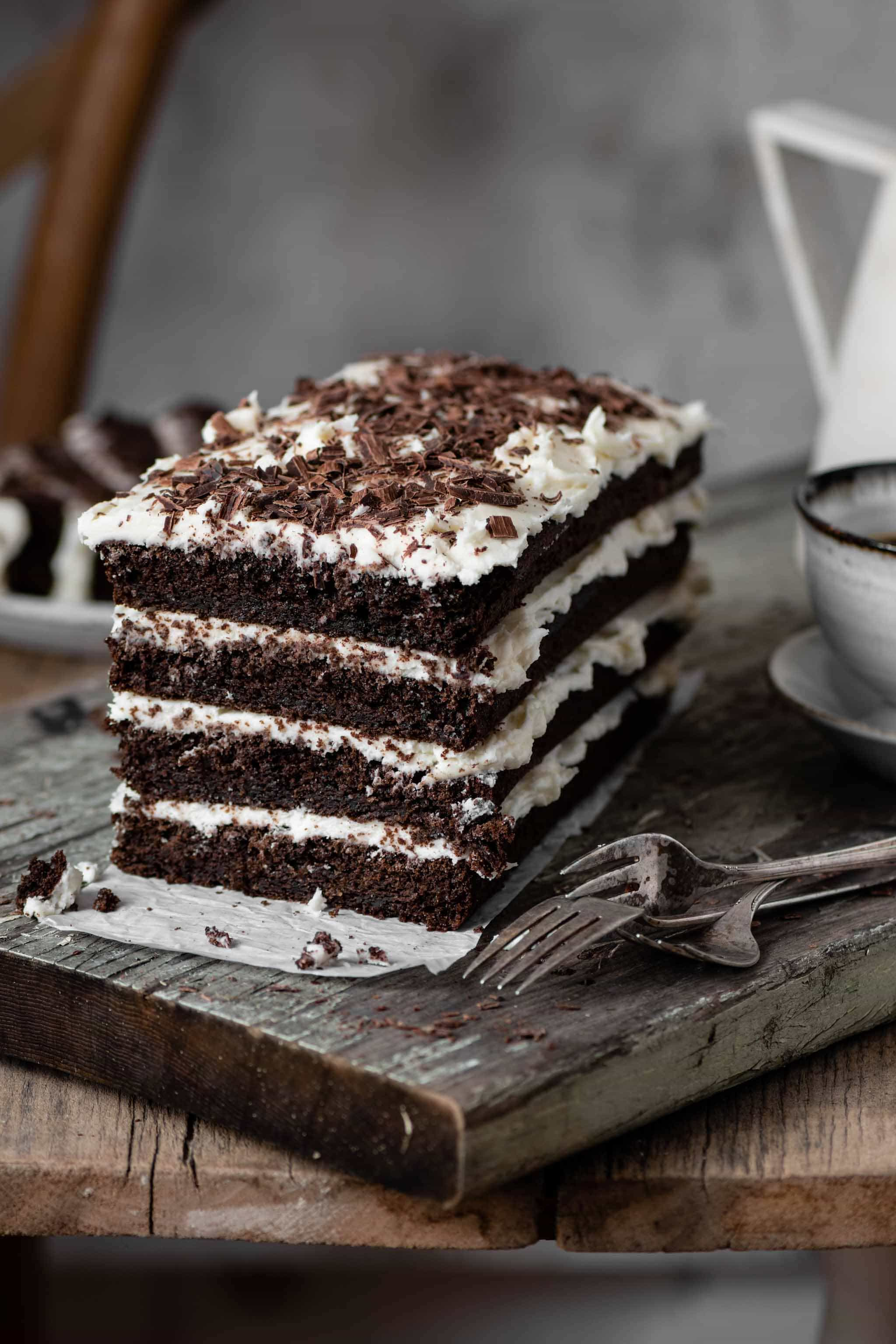 Mocha Chocolate Layer Cake with vanilla cream cheese frosting.