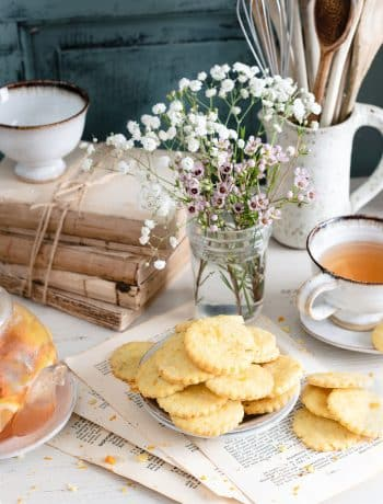 Apricot Basil Shortbread Cookies served with peach tea