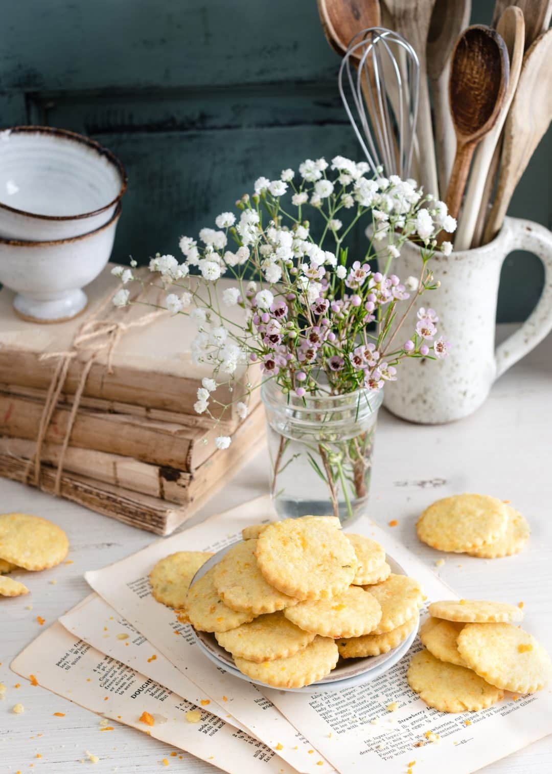 Apricot Basil Shortbread Cookies served with tea