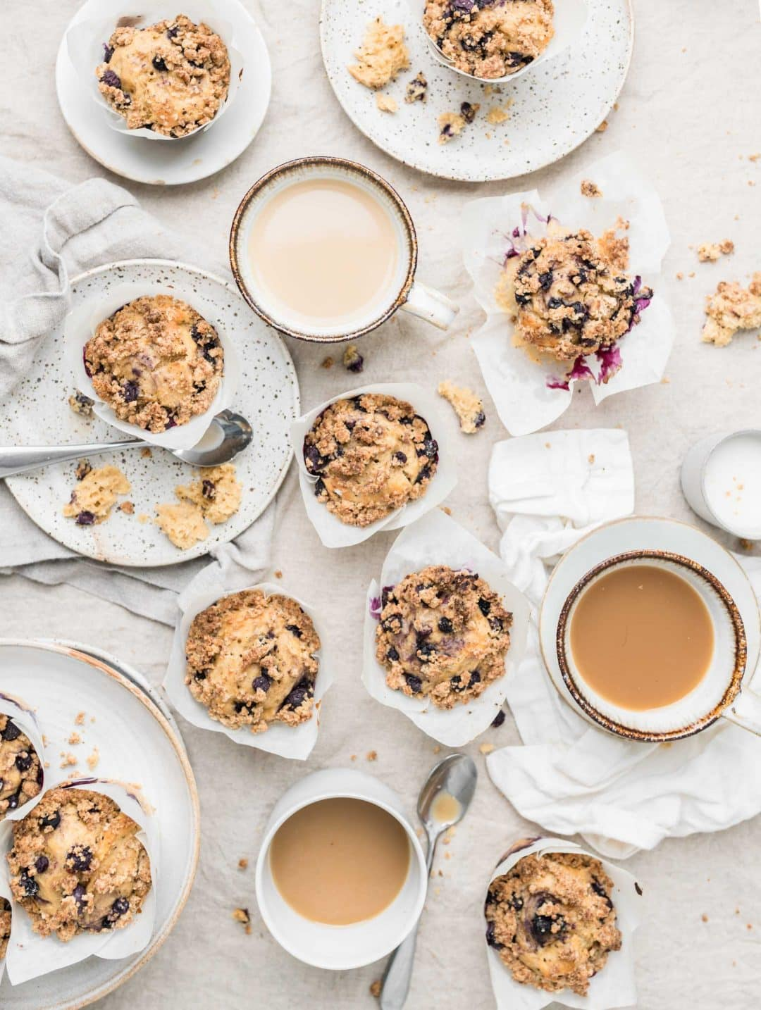 blueberry coffee crumble muffins