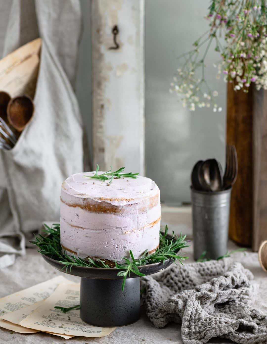 Purple Lavender Vanilla Poppy Seed Layer Cake