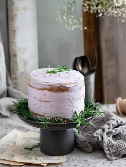 close up of lavender vanilla poppy seed cake
