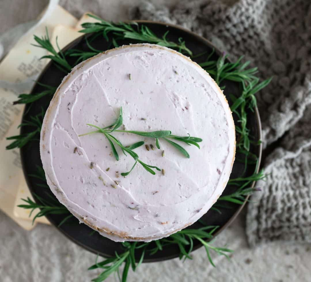 top view of lavender vanilla cake