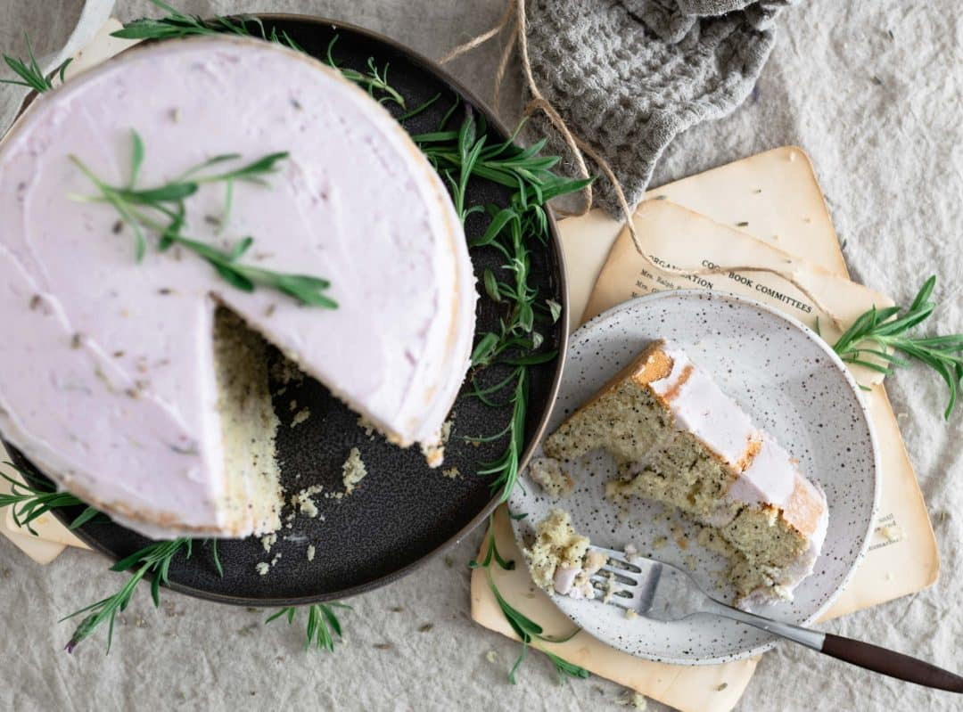 top view of sliced vanilla lavender cake