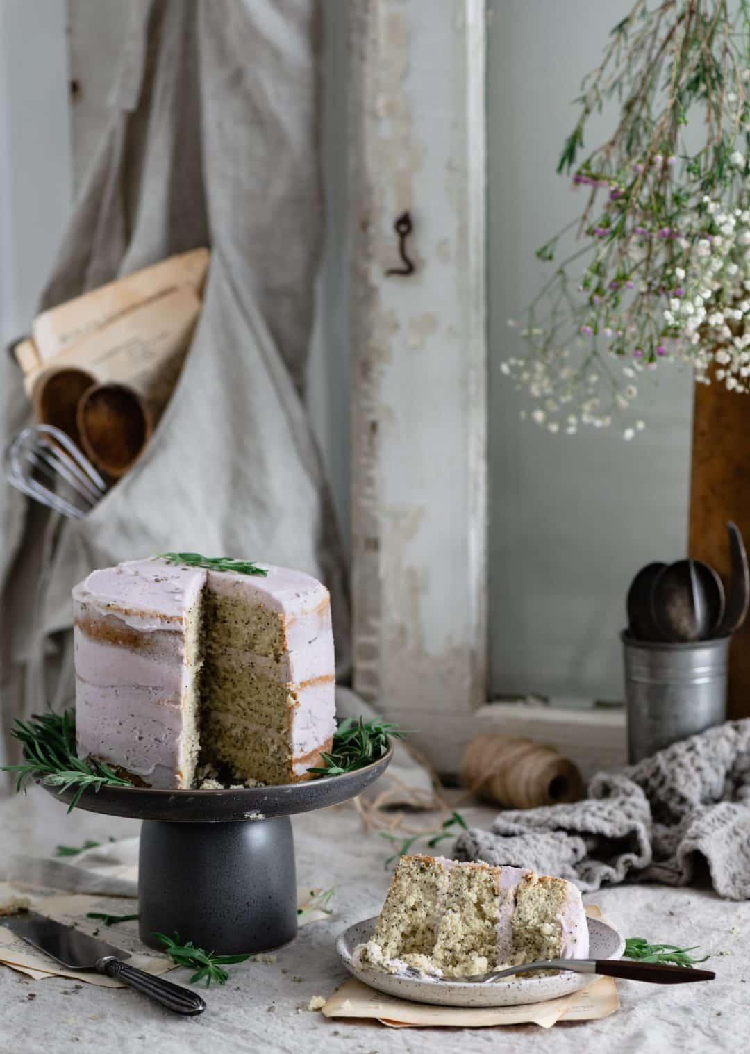 sliced lavender vanilla cake