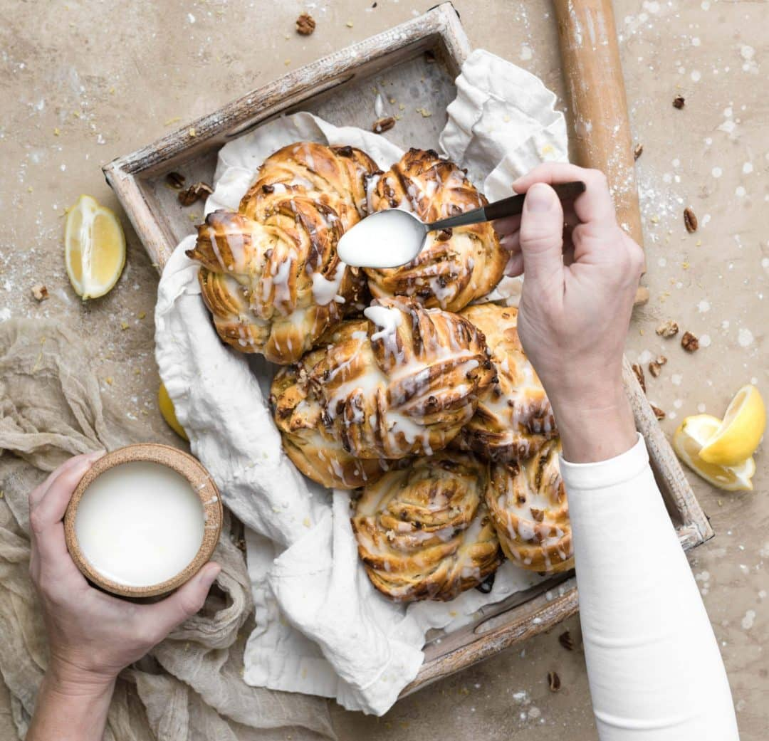 lemon drizzle on lemon pecan sticky buns