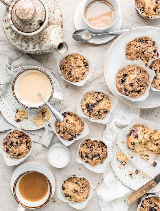 coffee and blueberry muffins