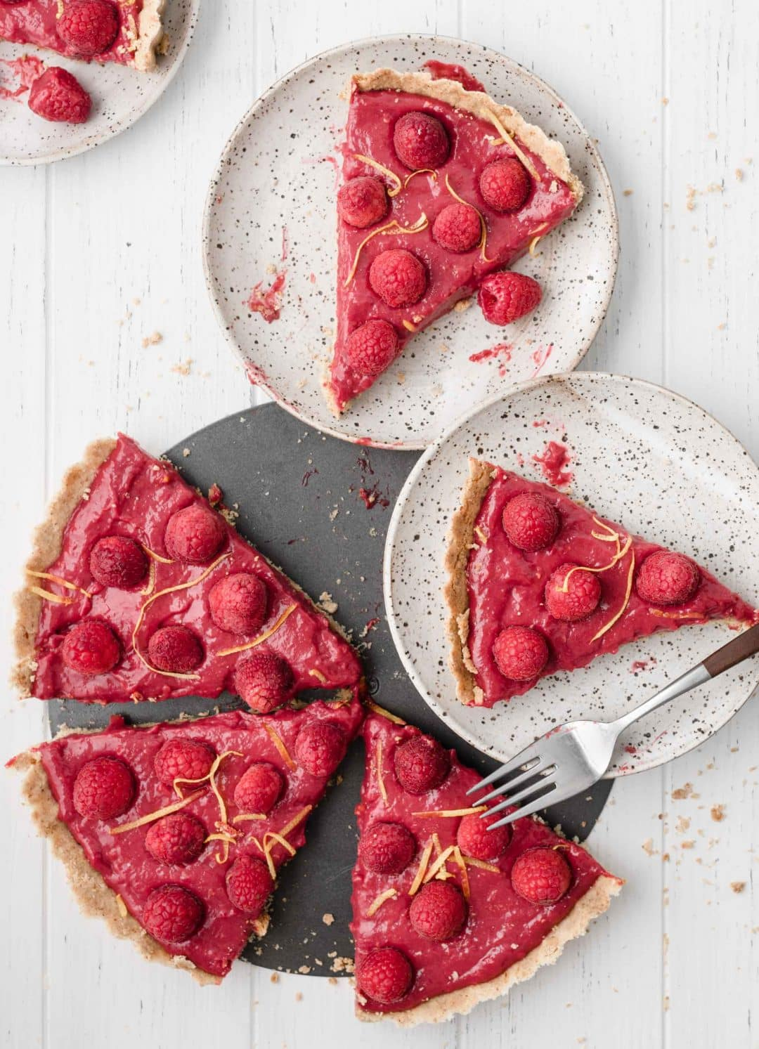 slices of raspberry lemon tart