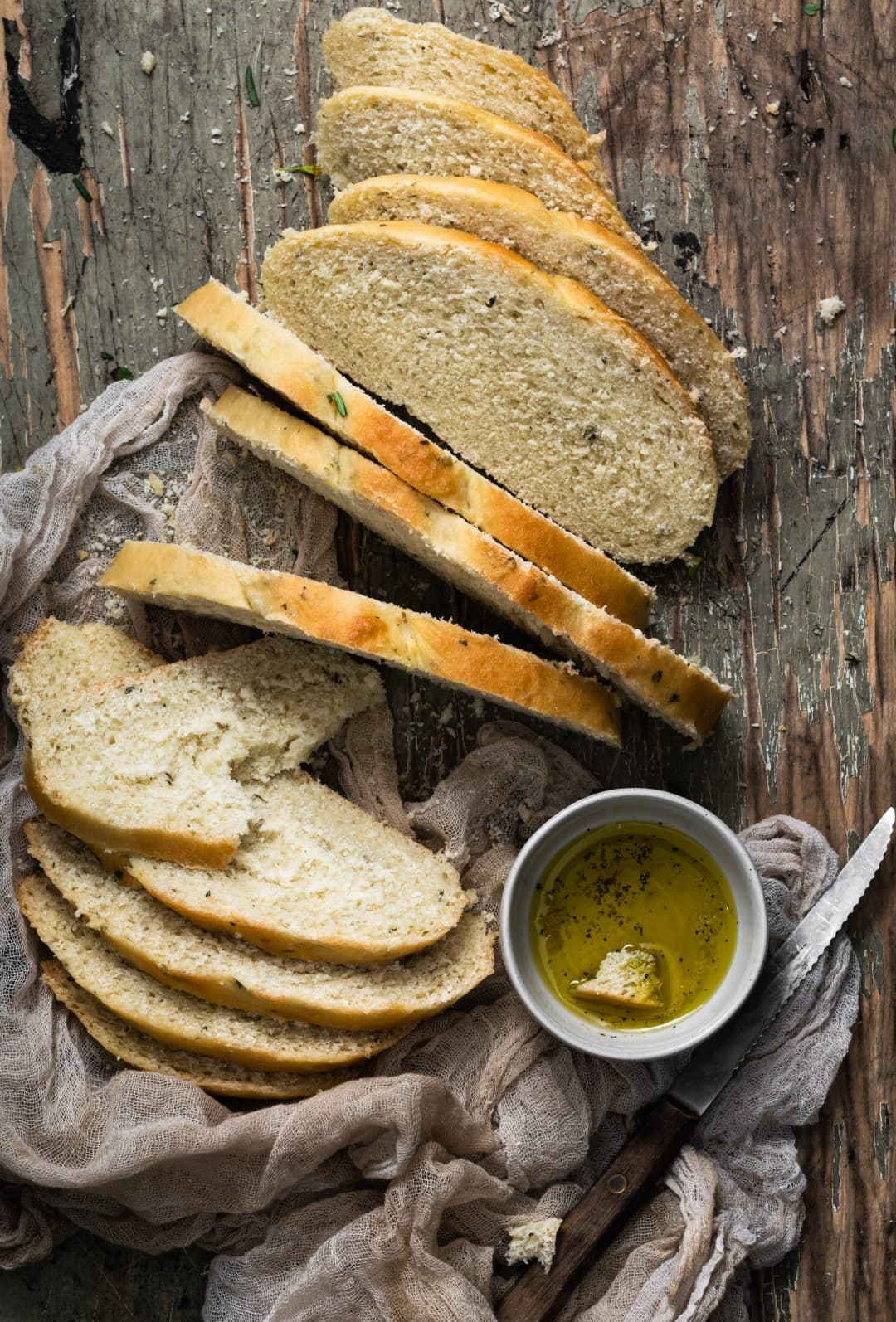 slices of tuscan herb bread served with oil