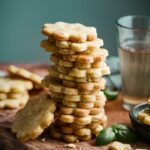 Apricot shortbread cookies with orange zest and fresh basil.