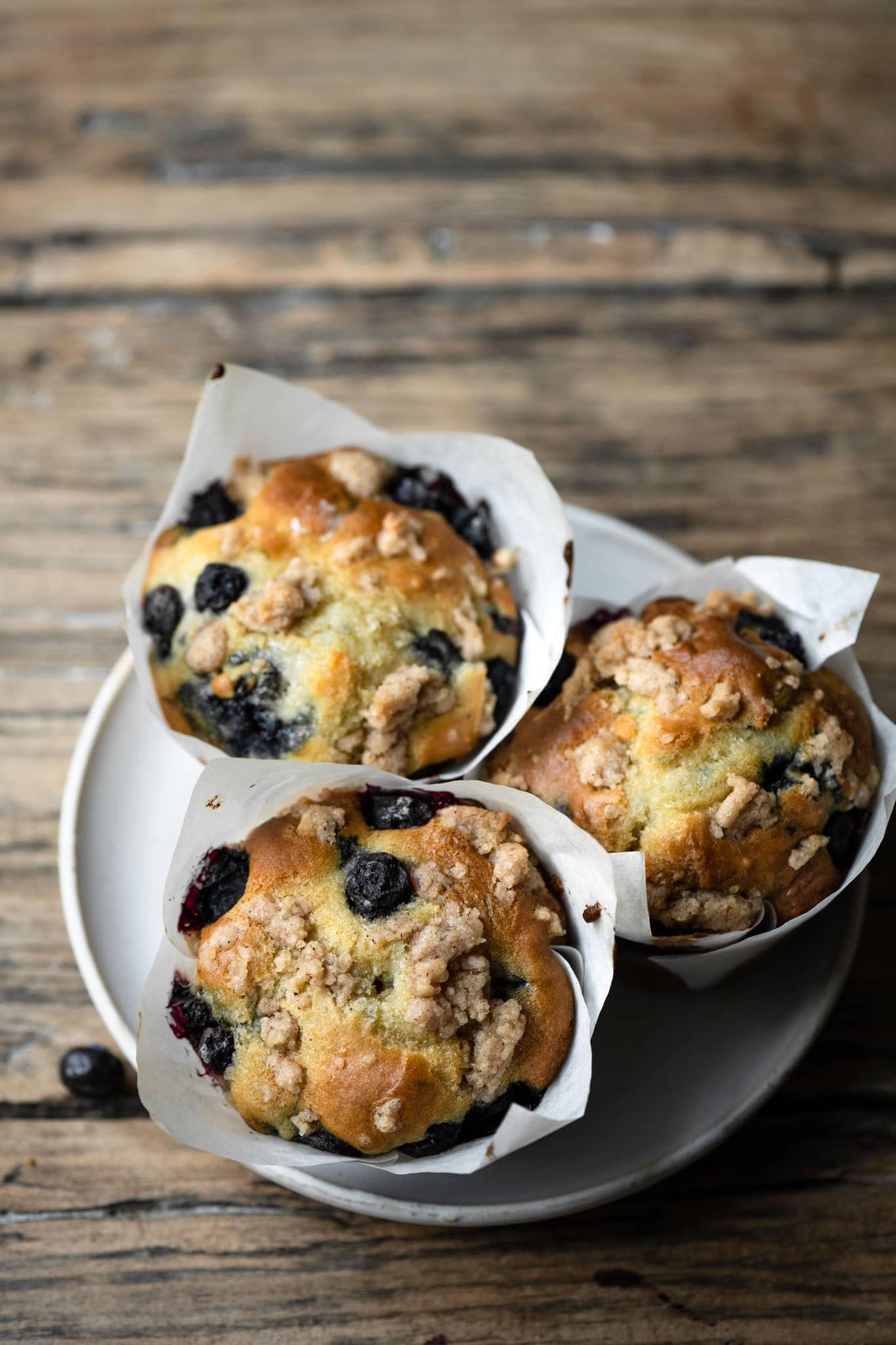 Greek yogurt blueberry crumble muffins.