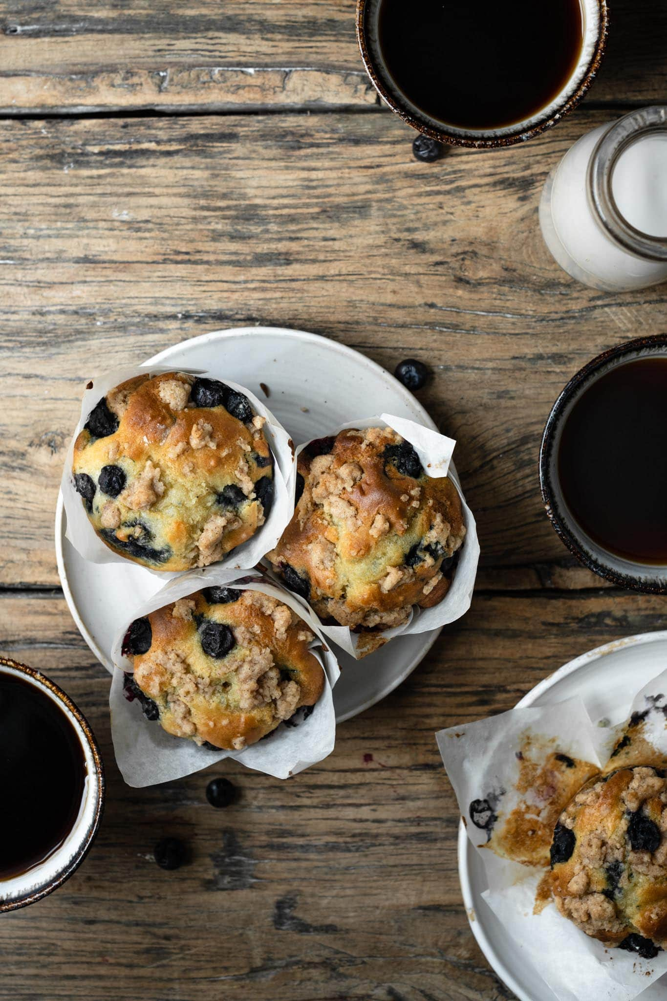 Recipe for blueberry muffins with coffee crumble.