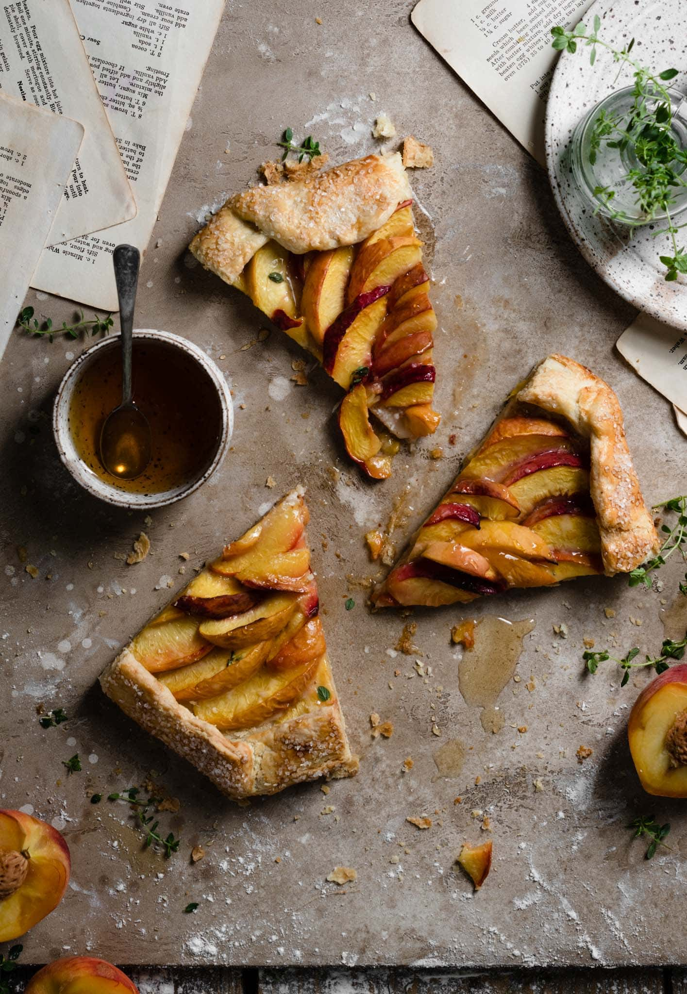 Rustic Tart peach galette with butter crust.