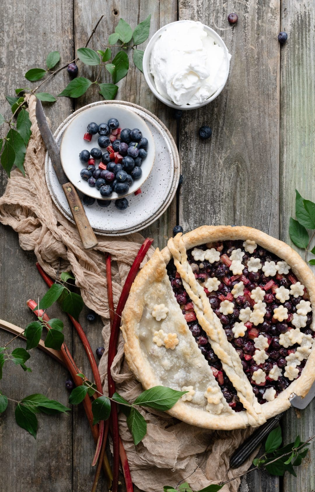 Baked Blueberry Rhubarb Pie with flower crust design