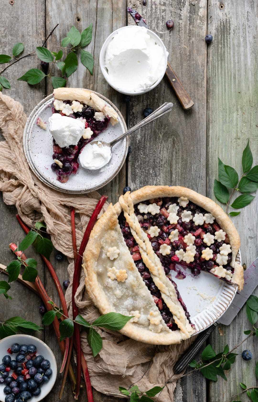 Baked Blueberry Rhubarb Pie with Whipped Cream
