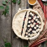 Blueberry Rhubarb pie with flower crust design