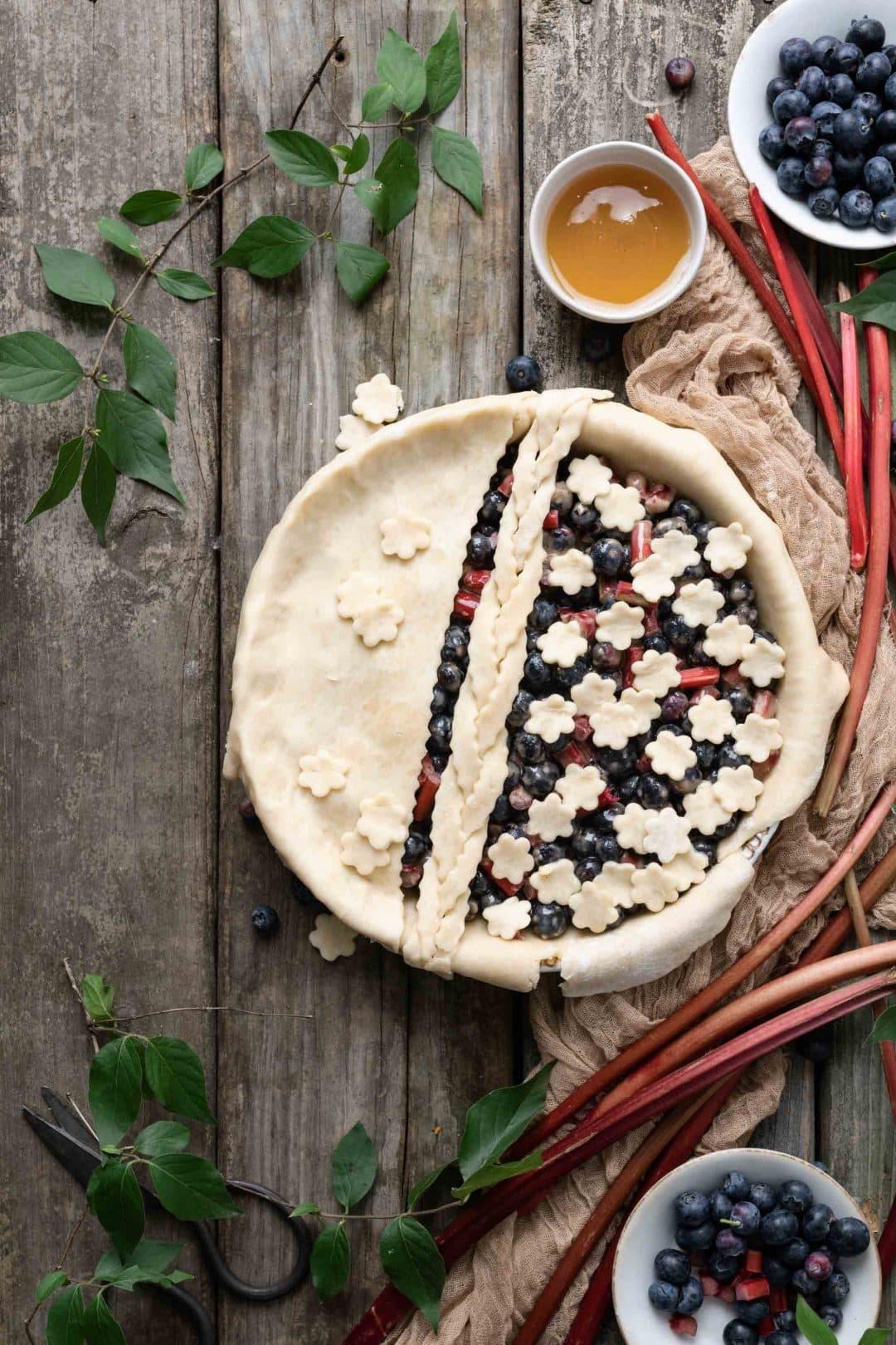 Blueberry Rhubarb pie with flower crust design