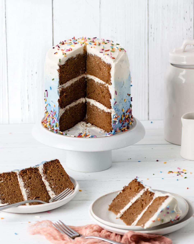 sliced almond vanilla birthday cake