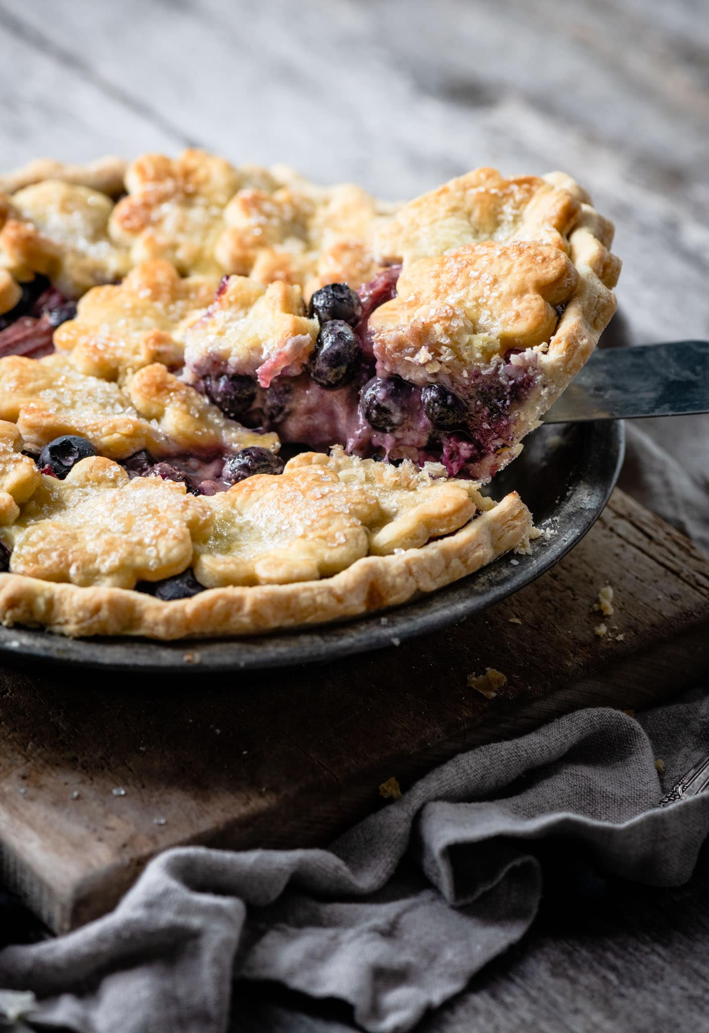 Sliced fresh blueberry pie.
