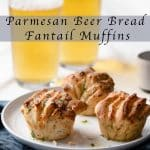 Parmesan Beer Bread Fantail Muffins Recipe served with pilsner beer