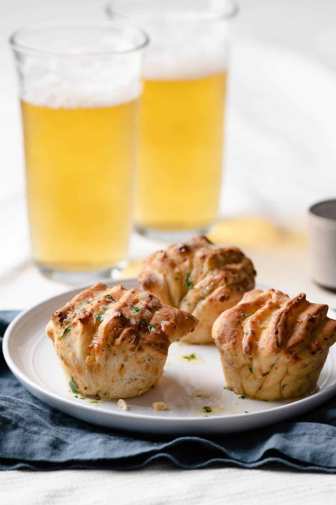 Beer Bread Fantail Muffins served with pilsner beer