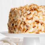 Easy Coconut Cake Recipe with toasted coconut chips