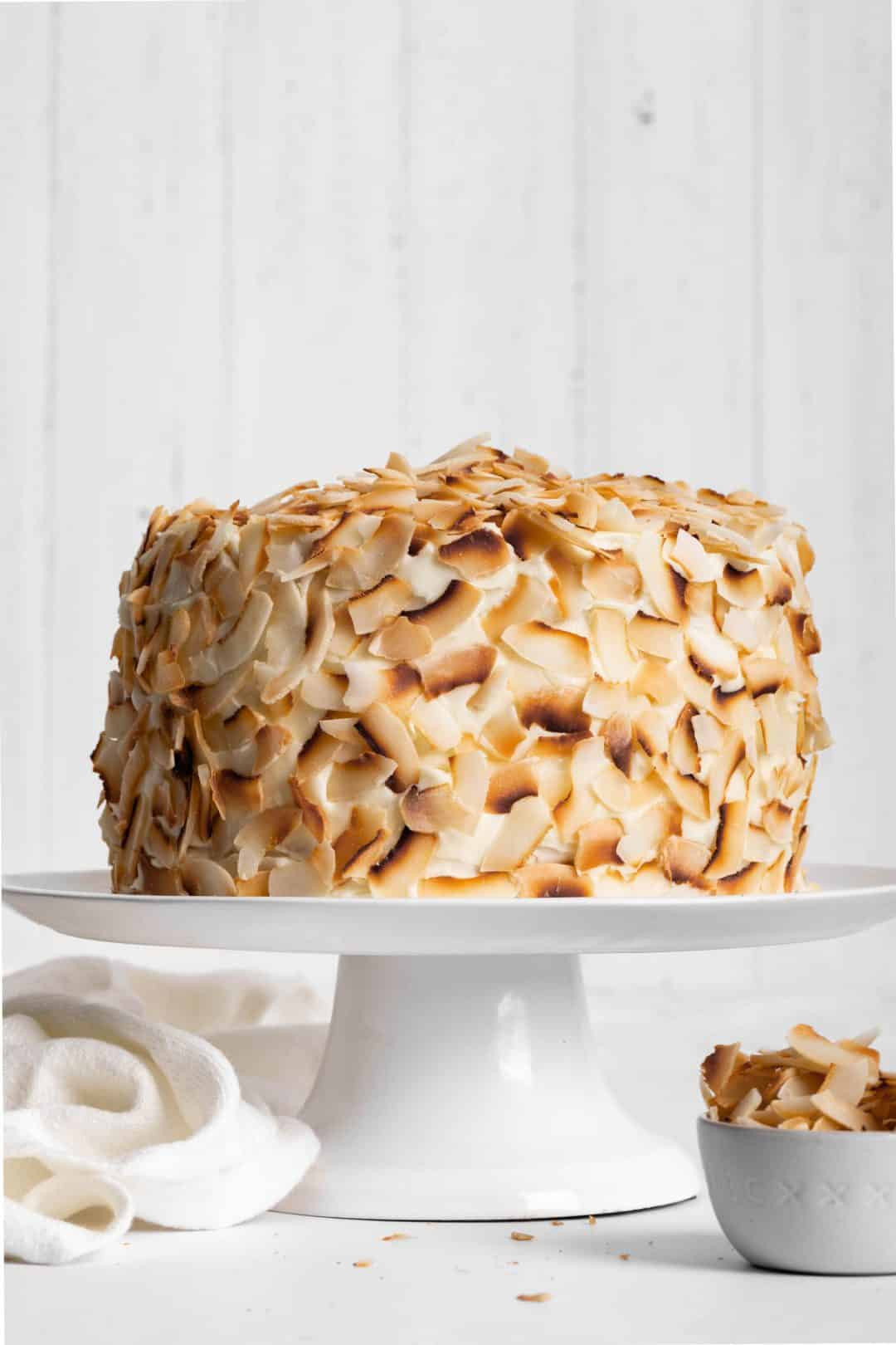 Coconut Cake covered with toasted coconut chips