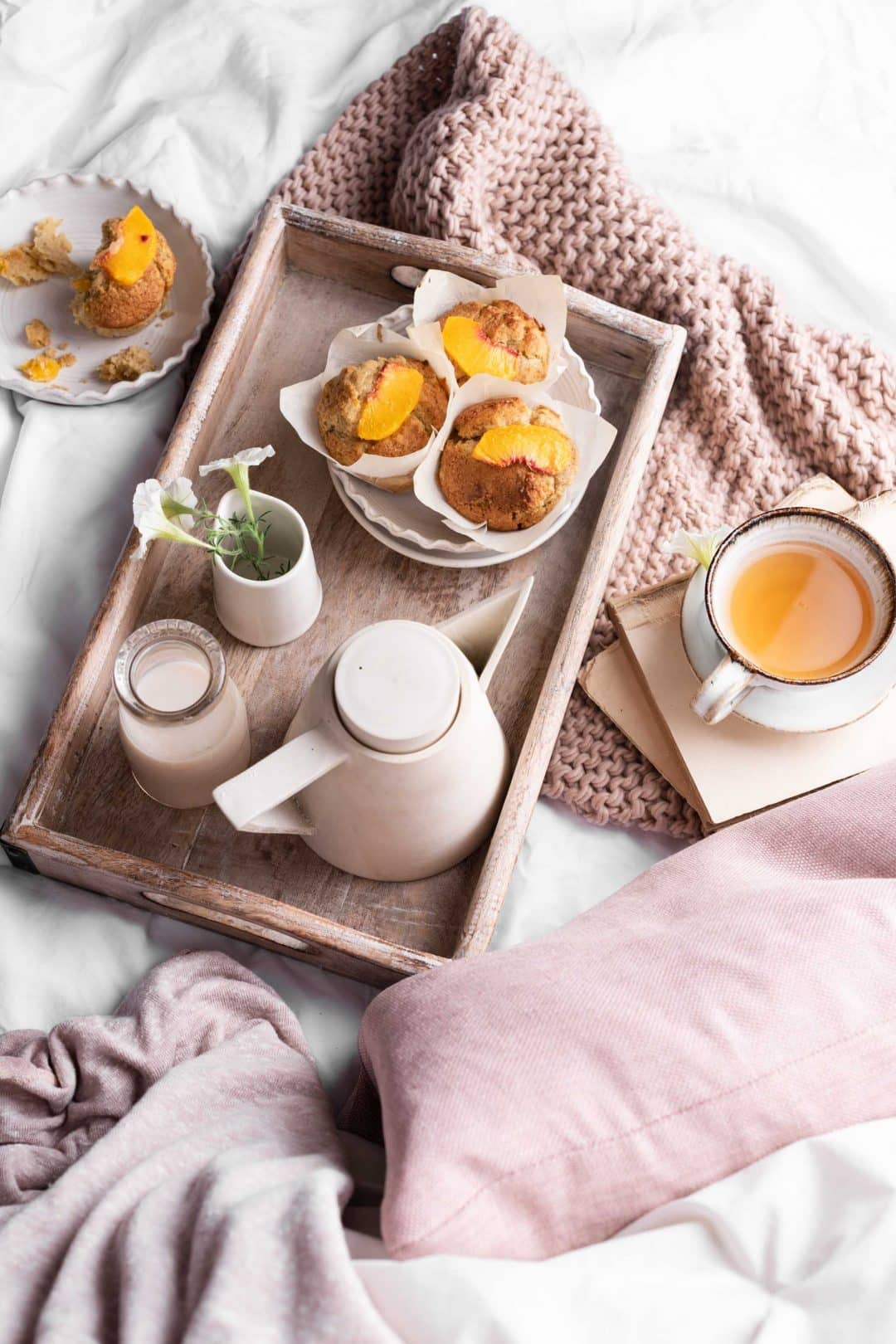 Breakfast in Bed with Peach Muffins