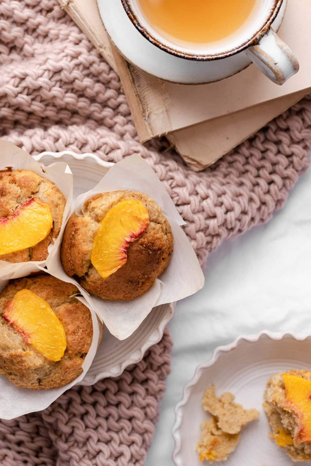 Peach Muffins Recipe with peach tea