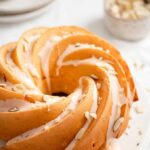 Easy peach dessert pound cake with peach icing